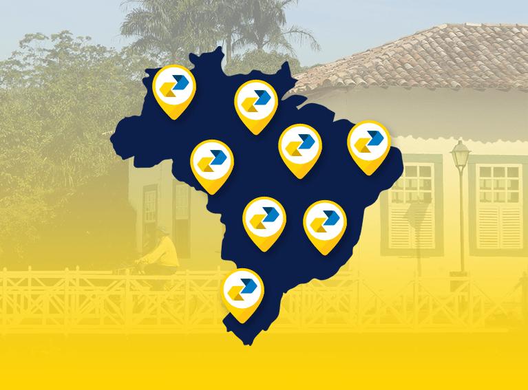 mapa do Brasil com  localizadores em varias regiões