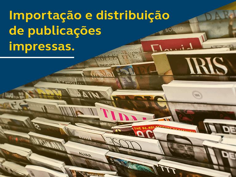 Banner - Importação e distribuição de publicações impressas - foto de revistas expostas em banca