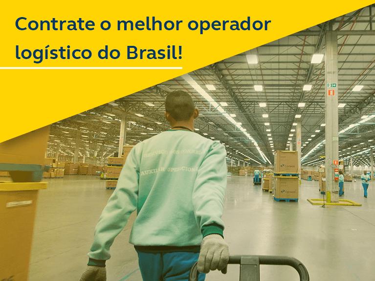Banner - Contrate o melhor operador logístico do Brasil! - Homem puxando carretinha com encomendas