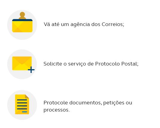 Dirija-se até uma agência dos Correios; Solicite o serviço de Protocolo Postal; Protocole documentos, petições ou processos.