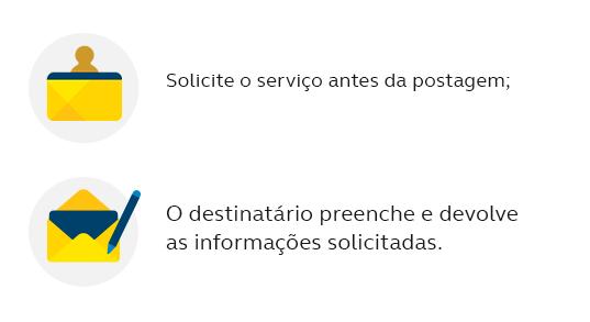 Solicite o serviço antes da postagem; O destinatário preenche e devolve as informações solicitadas.