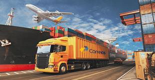 caminhão, avião dos correios em um porto com vários pallet