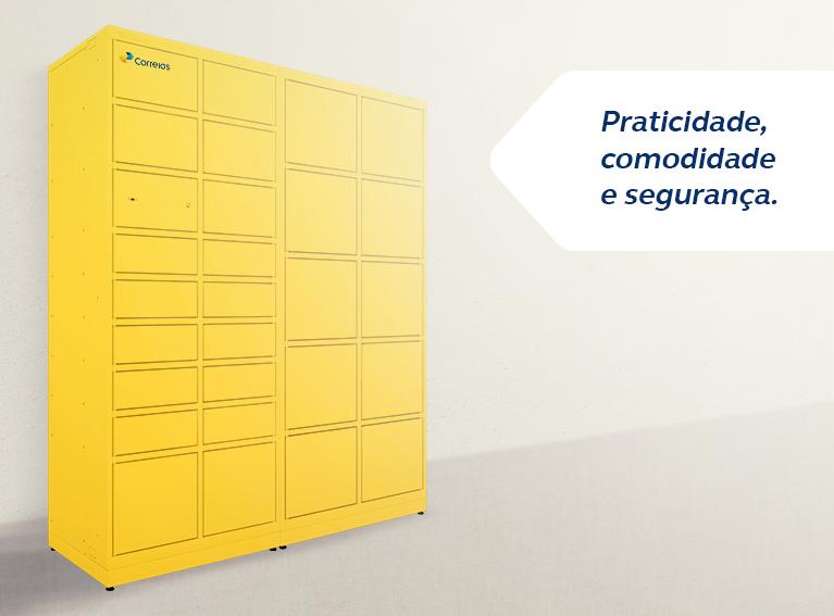 Armário fechado de cor amarela com divisórias de dimensões variadas
