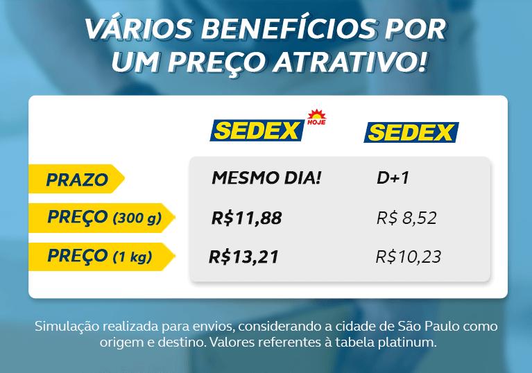 Vários benefícios por um preço atrativo! Sedex hoje, prazo mesmo dia! Sedex, prazo D+1 Sedex hoje (300g) preço R$11,88. Sedex (300g) preço R$8,52 Sedex hoje (1kg) preço R$13,21. Sedex (1kg) preço R$10,23 Simulação realizada para envios, considerando a cidade de São Paulo como origem e destino. valores referentes à tabela platinum.